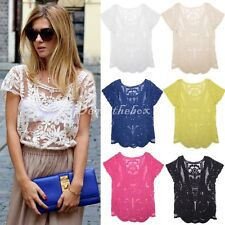 Semi Sheer Women Sleeve Embroidery Floral Lace Crochet T-Shirt Top Blouse dint