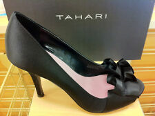 Tahari Sloan Women's Open Peep Toe Pumps Satin Heels Shoes