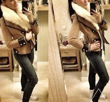 Women Contrast Rabbit Fur Collar Wool Blend Slim Coat Jacket Blazer Outerwear