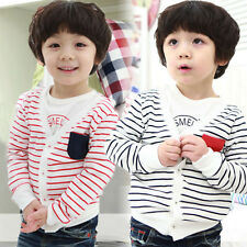Baby Boys Kids Long Sleeve Striped knitted Sweater Outwear Jacket Coat Clothes