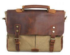 Men Women'sVintage Retro Canvas Leather Messenger Bags Briefcases Business Bag