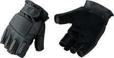 Mens Tactical Style Swat Fingerless Glove w/ Padded Top & Knuckles & Suede Palm