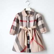 NEW GIRLS Kid's Clothes Classic Plaid Belt Long Sleeve Dress