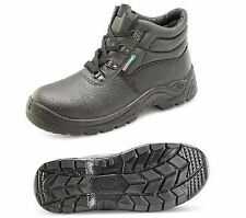 MENS SAFETY CHUKKA WORK BOOT LEATHER STEEL TOE CAP CLICK BLACK SIZES 7-13