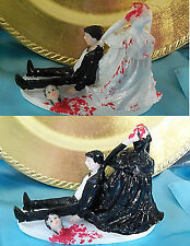 Halloween Goth Scary Wedding Cake Topper headless woman skull death Gothic dead