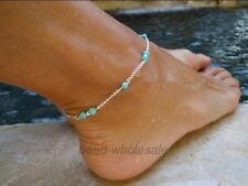 Sale Imitation Turquoise Beads Silver Plated  Anklet Foot Chain New For Summer