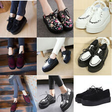 Women Faux Suede Platform Lace Up Punk Goth High Heels Flat Creeper Flats Shoes