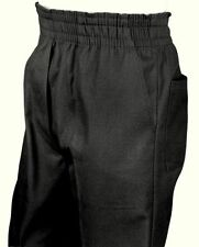 Men's Full Elastic Waist Pull-On Pants with Mock Fly-Black