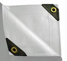 12 mil Heavy Duty Canopy Tarp - 3 Coated Tent Car Boat Cover-White- Diff Sizes