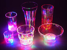 Lighted Flashing LED Multicolor Plastic Acrylic Cup Glass Tumblers Bowls Party