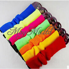 New Plain Knitted Leg Warmers Stocking Socks Long Gloves Neon 7 Colors Sales Q