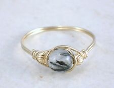14kt Gold Filled Rutile Tourmaline in Quartz Wire Wrapped Bead Ring