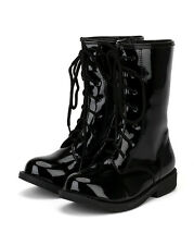 Jelly Beans Chrissy New Girl Patent Solid Color Lace Up Military Combat Boot