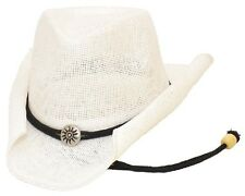 Western Women's Curled Straw Hat w/ Chin String Cowboy Cowgirl White - ALL SIZES