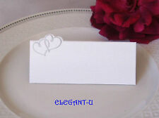 BLANK Wedding Name Place Card SILVER Entwined Twin Hearts Choose Quantity - BULK