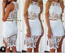Sexy Women Lace 2 PIECE Dress Bodycon Bandage Evening Party Cocktail Club Dress