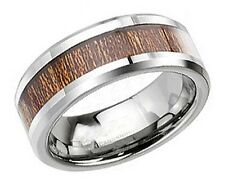 Tungsten Carbide Wood Inlay Ring Men's Wedding Band Size 9-13