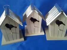 Bird Houses, Wooden with metal roof,Painted white/grey Outdoor, Garden, New,Gift