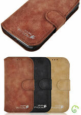 Genuine Luxury Real Leather Suede Buckle Wallet Case Cover For Samsung Galaxy S4
