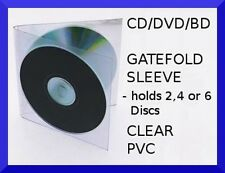 clear pvc GATEFOLD SLEEVE [Holds 2, 4 or 6 Discs] DVD,Blu-Ray,CD,PS3,Xbox,Wii