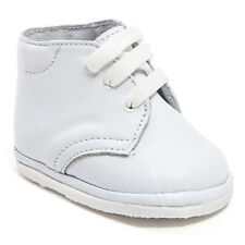 Baby Boy White Leather High Top shoes with Laces: Size 0 to 3 Made in Mexico