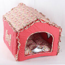 New Sweet Red Pastoral Cotton Pet Dog Cat House Bed Kennel Tent Size L +fish toy