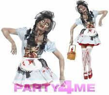 Ladies Sexy Zombie Dorothy Halloween Horror Fancy Dress Costume Fairytale Outfit