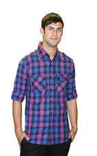 Men Indie Retro New Vintage Fitted Purple Plaid Lumberjack Shirt New Small
