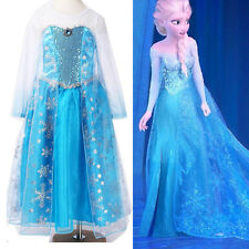 Halloween Girl Frozen Princess Queen Elsa Party Cosplay Costume Fancy Dress