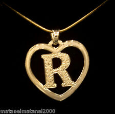24k Gold Plated Initial Pendant Necklace Personalized Heart Charm A-Z