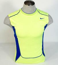 Nike Dri Fit Pro Combat Lime & Blue Sleeveless Compression Shirt Mens NWT