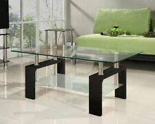 Glass Coffee Table Rectangle White Black Red Walnut Legs with Chrome Modern New