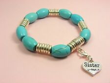 Turquoise GEMSTONE Mother or Sister HEART Clip On CHARM Stretch Bangle BRACELET