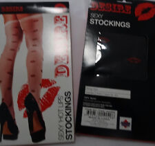 red lips black ladies costume stockings thigh high socks fancy dress white