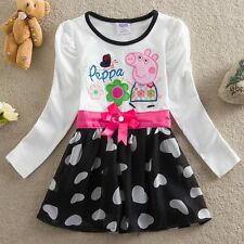 Fashion Toddler Baby Girls PEPPA PIG Kids Holiday Long Sleeve Dress Top Costumes