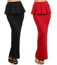 SEXY BLACK RED HIGH WAIST PLEATED PEPLUM RUFFLE SLIM LONG PENCIL MAXI SKIRT