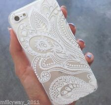 PLASTIC CASE COVER FOR IPHONE 5 5S 5C HENNA WHITE FLORAL PAISLEY flower mandala