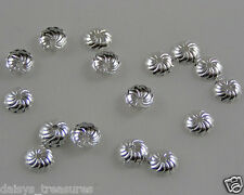Fluted bead end caps SP 7mm silver plated 50 or 250 jewellery making findings