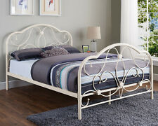 White Metal Bed Double King Size Frame and with Memory Mattress Designer Style