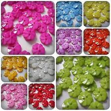 50 x 2-Hole Acrylic Ridged Flower Buttons - 14mm [Various Colours Available]