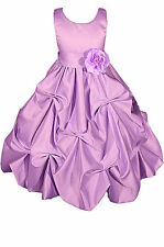 Dressesforgirls Lilac Satin Flower Girl Pageant Easter Wedding Dress A1403