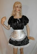 ADULT SISSY BABY SEXY SATIN BASIC FRENCH MAID DRESS & FRILLY APRON