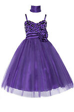 Dressesforgirls Purple Sequined Flower Girl Pageant Graduation Dress J3333