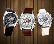 Popular Deluxe Analog Silver Case Three Eyes Clocks Watches White/Black/Brown