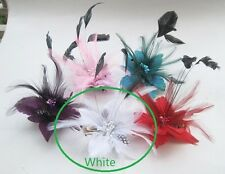 Feather Flower beads Corsage Hair Clips Pin Bridal Wedding Fascinator Headpieces