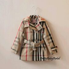 GIRLS Kid's Clothes Beige Plaid double-breasted Belted Trench Coat Wind Jacket