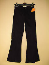 $269 Acne Bell Flare High Waist 100% Cotton Raw Dark Denim Black Jeans 25 NWT