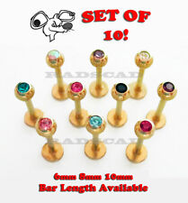 10x GOLD LABRET 6mm 8mm 10mm BAR LENGTH 16G LIP RING STUD GEM BODY PIERCING L14