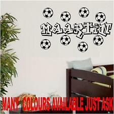 LARGE FOOTBALL NAME GRAFFITI ART + 8 BALLS BOYS GIRLS  BEDROOM STICKER 600MM