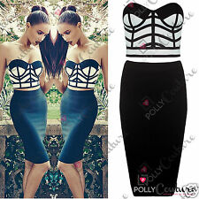 Womens Boutique Two Piece Bralet Bustier Top and Bodycon Skirt Ladies Dress Set